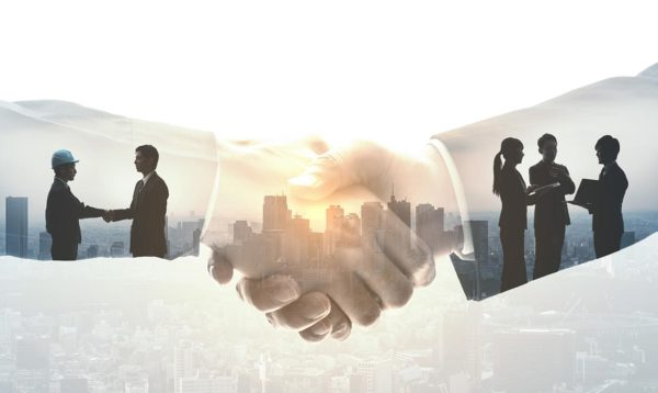 Business merger handshake